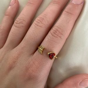 Kate Spade gold wrap around arrow with red heart
